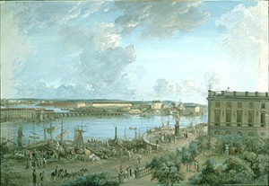 Elias Martin (1739-1818). Utsikt över Stockholm. Skeppsbron i framkant (innan tillbyggnader) och slottet till höger.