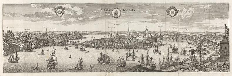 Ur Suecia antiqua et hodierna. Kopparstick, Stockholm från öster blad 13 i band 1. Utfört av Dahlbergh i samarbete med gravören Willem Swidde och tryckt i Stockholm 1693.